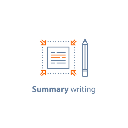Summary writing concept, brief information, text edit, content review, article compilation, short and fast reading, copywriting services, vector line icon, thin stroke