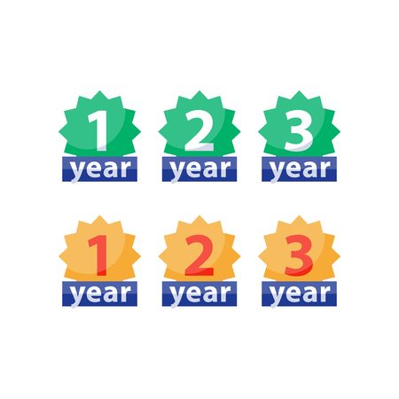 Years of warranty stamp set, one two three numbers, guarantee signs, approved symbol, best choice mark, vector flat icons Stock Illustratie