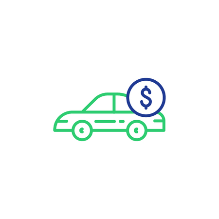 Car payment, side view, transportation cost, buy and sell services, vector mono line icon
