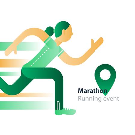 Marathon event, running woman, sport race in motion, triathlon athlete, abstract cartoon, vector flat design illustration