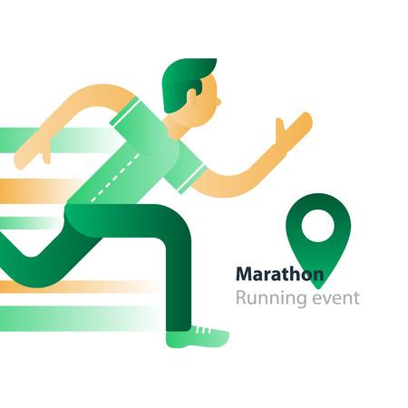 Marathon event, running man, sport race, person in motion, triathlon athlete, abstract cartoon, vector flat design illustration