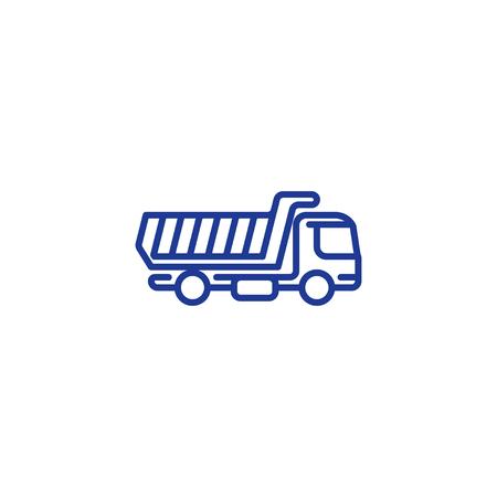 Tipper truck mono line icon, load transportation vector