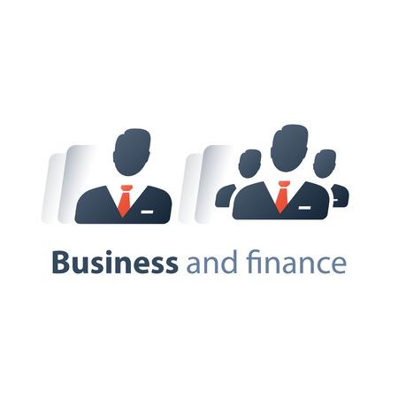 Servicio corporativo, alta dirección ejecutiva de la empresa, recursos humanos, inversionista de pequeñas y grandes empresas, accionista, curso de capacitación de CEO, trabajo en equipo, icono plano vectorial Ilustración de vector