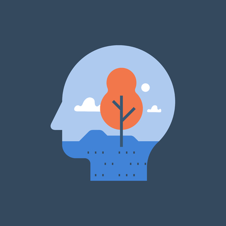 Harmony and mental wellbeing, clear thinking, meditation concept, inner peace, self reflection, psychotherapy, vector icon