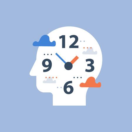 Concept de procrastination, heures de travail et date limite, gestion du temps, cadran et tête d'horloge, planification de la journée, temps libre, icône vectorielle, perception du temps, présence, illustration à plat