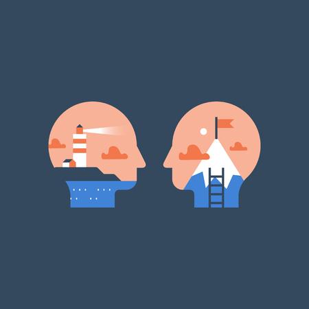 Concepto de aspiración, motivación laboral, mentalidad de crecimiento personal, oportunidad profesional, desarrollo potencial, desafío del siguiente nivel, bandera de la cima de la montaña, gestión de tareas, camino al éxito, progreso en el aprendizaje