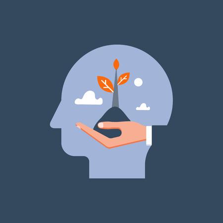 Croissance personnelle, développement potentiel, motivation et aspiration, soins de santé mentale, état d'esprit positif, psychothérapie et analyse, recherche du bonheur, main tenant la vapeur, illustration vectorielle Vecteurs
