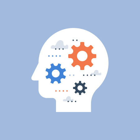 Side view head full of cogwheels, brain work gear, cognitive skill, technology people, artificial intelligence, team work and collaboration, potential development, brainstorm concept, common ground