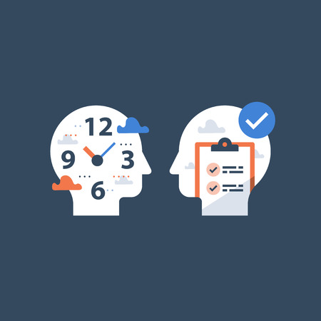 Fast education concept, exam preparation, study subject, school assignment deadline, review knowledge, self learning, time to learn, check list, vector icon, flat illustration Reklamní fotografie - 110974503