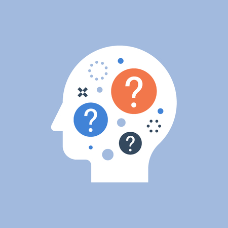 Entscheidungsfindung, schwierige Wahl, Verhaltenswissenschaft, Selbstbefragung, Brainstorming und Neugierkonzept, Neurologie, Vektorsymbol, flache Illustration
