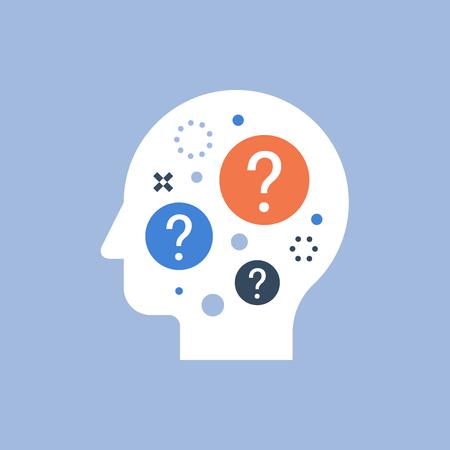 Toma de decisiones, elección difícil, ciencia del comportamiento, auto cuestionamiento, lluvia de ideas y concepto de curiosidad, neurología, icono de vector, ilustración plana