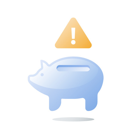 Empty glass piggy bank, budget plan, invest fund mismanagement, bad finance, need money, unexpected spending, financial loss prevention, wasting capital, savings account, attention sign, vector icon