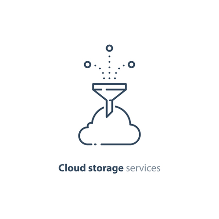 Cloud storage services concept, vector mono line icon Illustration