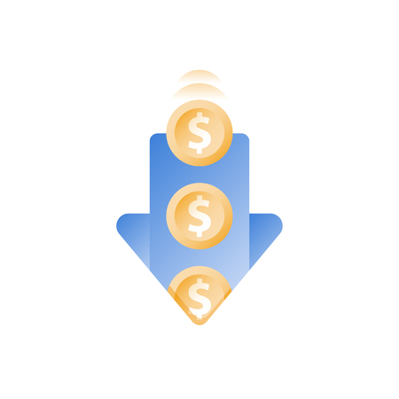 Falling coins in hole, arrow down, finance loss, wasting money, sunken cost concept, debt increase, financial expenses, capital devaluation, unexpected drop, vector icon, flat illustration