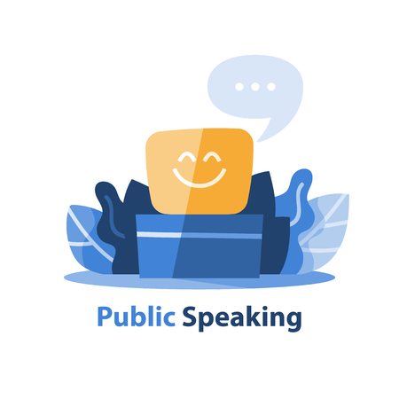 Public speaking, positive thinking, self presentation concept, vector icon, flat illustration Illustration