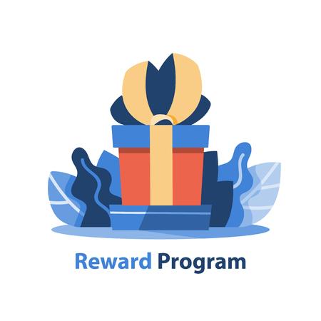 Reward program, creative gift, big present box, vector icon, flat illustration