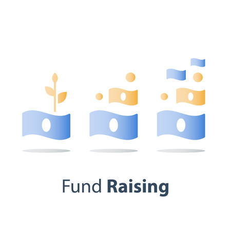 Financial growth concept, fund raising, more money, interest rate, revenue increase, vector icon Illustration