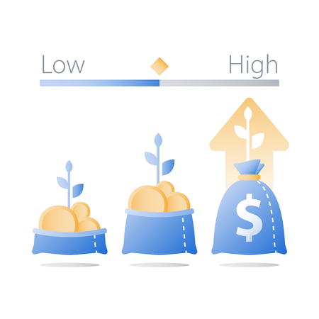Fast finance asset growth, revenue increase, earn more money, open bag with gold coins and plant stem, invest fund, wealth management, future interest, value investment, vector icon