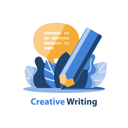 Creative writing, storytelling concept, pencil and speech bubble, vector illustration