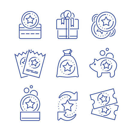Loyalty incentives, bonus card, earn reward, redeem gift, shopping perks, discount coupon, collect coins, win present, lottery ticket, vector mono line icon set, linear illustration, outline design