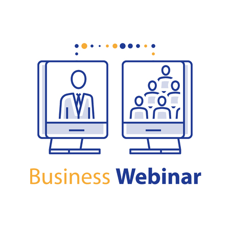 Business webinar, online training course, educational resources, guidance and mentoring, internet seminar, web meeting, lecture speaker and audience, distant learning, vector line icon Ilustrace