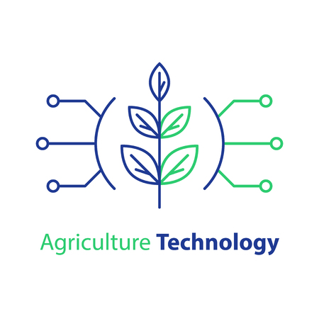 Agriculture technology, smart farming, plant stem, innovation concept, automation solution, growth control, crop improvement, vector line icon