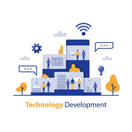Technology development, innovative solution, IT business office, product design process, digital marketing research, creative occupation, teamwork concept, software company, modern job