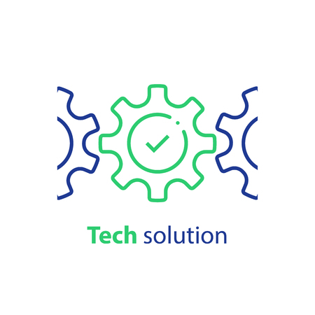 Integration concept, technology solution, cogwheel and check mark, system compliance, business automation, software development, installment and maintenance, vector line icon Illustration