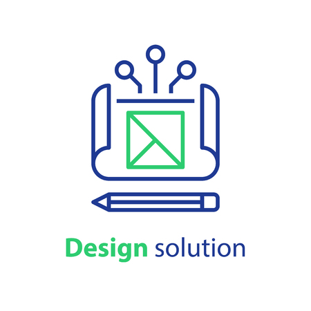 Design solution, project blueprint, engineering and development, technical assignment, vector icon, linear illustration