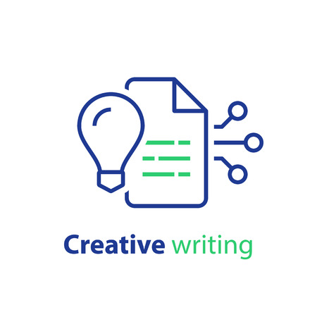 Creative writing and storytelling, read summary, terms and conditions, text improvement, vector line icon, linear illustration