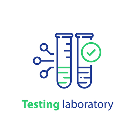 Testing laboratory, glass tube sample and check mark, chemical technology, vector icon, linear illustration Illustration