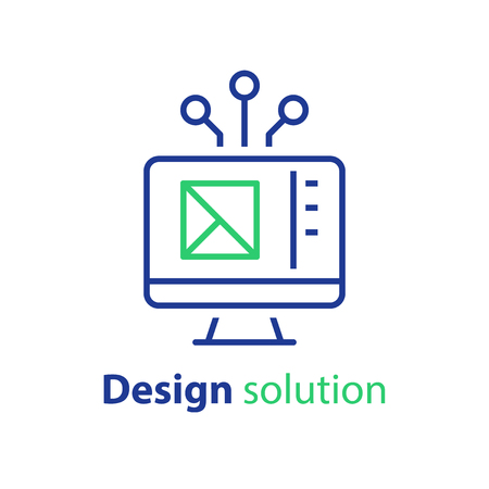 Design solution, prototyping concept, web interface, engineering and development, technical assignment, vector icon, linear illustration Vettoriali