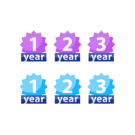 Years of warranty stamp set, one two three numbers, guarantee signs, approved symbol, best choice mark, vector flat icons Illustration