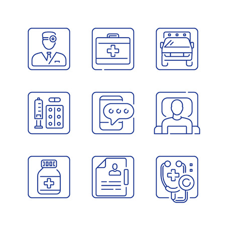 Health care service, first aid medicine, medical help, emergency ambulance, doctor attendance, stethoscope symbol, patient in bed, vector outline icon set Çizim