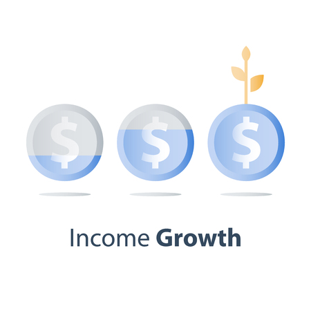 Long term investment strategy, financial value steady growth, asset allocation, stock market future income, revenue increase, mutual fund interest rate, more money saving, plant stem coin concept icon