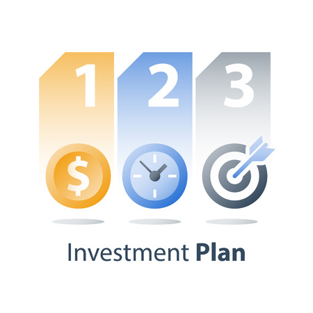 Investment strategy, time is money, coin and clock, fast loan, financial credit providing, payment installment, asset allocation, vector icon