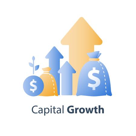 Beleggingsstrategie op lange termijn, gestage groei van financiële waarde, activaspreiding, toekomstig inkomen op de aandelenmarkt, omzetstijging, rentevoet voor beleggingsfondsen, meer geldbesparing, vectorpictogram