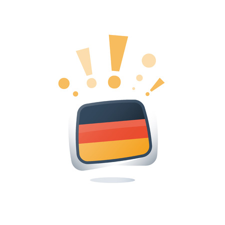 German language, flags icons, linguistic learning, online course, enroll button, chat speech bubble, exam and test preparation program, vocabulary improvement, check mark Illustration