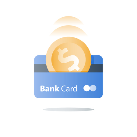 Credit card, payment method, bank services, easy loan, cash back program, saving money, financial solution, bank card, dollar coin, deposit and withdraw, transaction security, vector icon Illusztráció