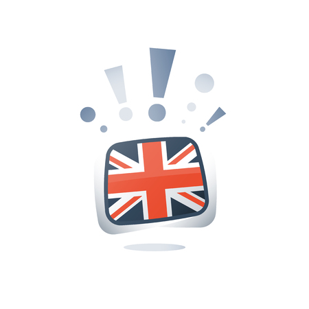 English language, British flag, linguistic learning, online course, vector flat icon