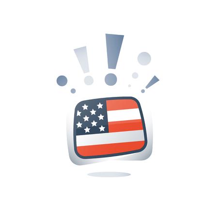 American English language, USA flag, linguistic learning, online course, preparation program, vocabulary improvement, vector flat icon Vetores
