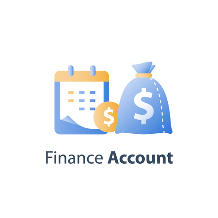 Financial calendar, payment period, annual dividends, return on investment, budget plan, savings account, vector icon
