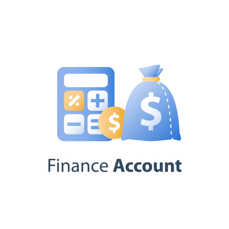 Financial calculator, accounting services, cash loan, wealth management, investment fund, budget planning, vector icon