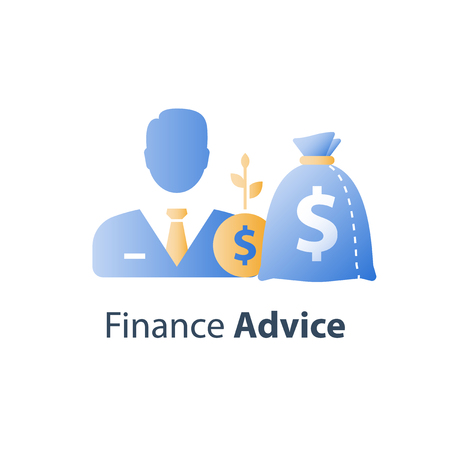 Financial adviser, wealth management, investment fund, capital allocation strategy, venture business, broker services, earn money, stock market, vector icon Ilustrace