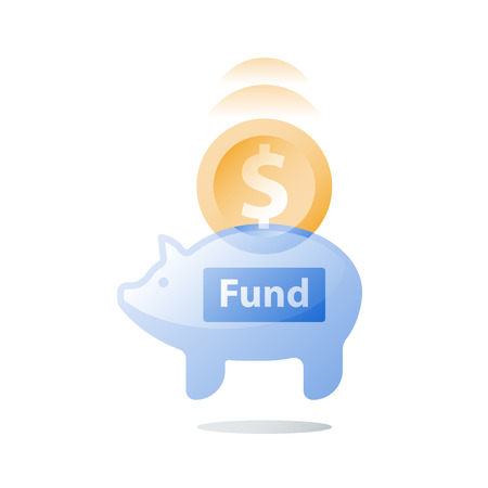Long term investment strategy, glass piggy bank, fund raising, collecting coins, pension savings, superannuation concept, financial security, earn more money, revenue increase, vector icon