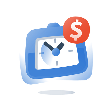 Time is money, long term investment, fast micro loan, dollar sign and clock, credit payment installment, cash advance, pension savings account, finance management, future profit, work hour wage icon