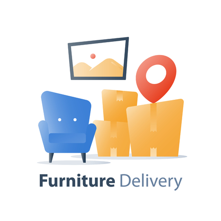 Furniture delivery service, move in home, fast relocation, armchair and pile of boxes, packed things, vector flat illustration