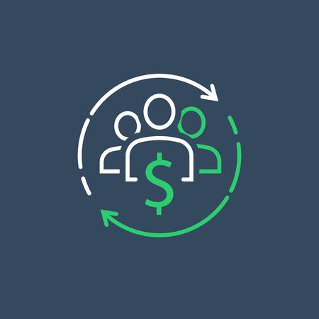 Concept d'économie partagée, gestion financière, fonds commun de placement, service aux entreprises, nouvel investissement commercial, crowdsourcing, étude de marché, icône de ligne vectorielle Vecteurs