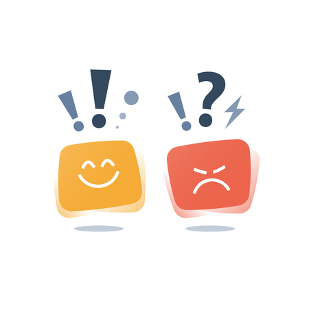 Positive thinking, negative emotion, bad experience, good feedback, happy client, unhappy customer, poor service quality, optimism attitude, pessimism concept, opinion poll sociology, empathy icon
