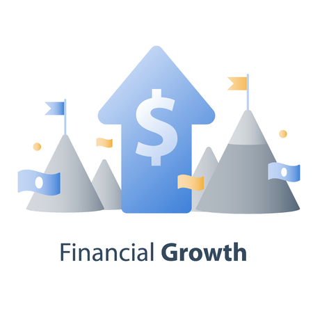 Financial concept, investment fund, new business idea, start up money, capital management, big picture company strategy, vector illustration Vector Illustration